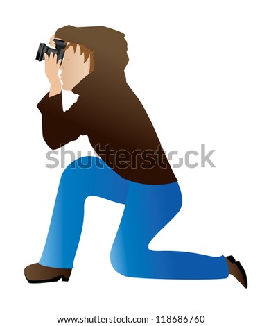 Illustration of abstract photographer taking a photo on white background. - stock vector