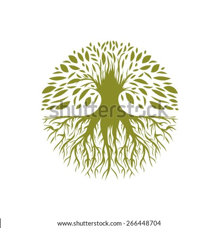 Illustration of Abstract Round Tree Logo Design - stock vector