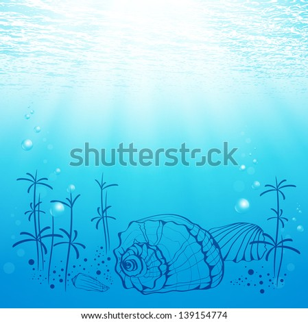 Illustration Of Abstract Sea Life With Shell and Sun - stock vector