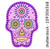 Illustration of abstract skull isolated on white background. - stock vector