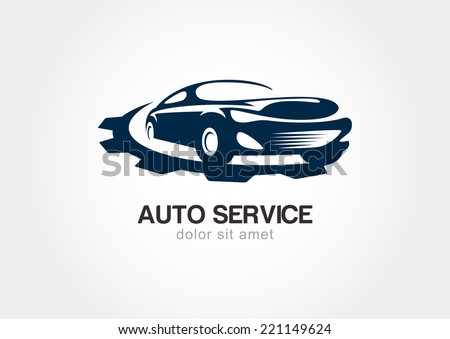 Illustration of abstract sport car with gears cogs. Vector logo design template. Concept for automobile repair service, spare parts store. - stock vector
