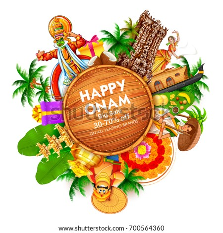 illustration of advertisement and promotion background for Happy Onam festival of South India Kerala