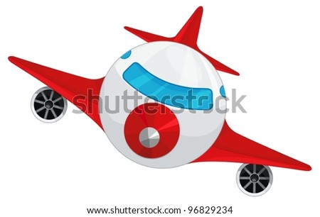 illustration of aeroplane on a white background - stock vector