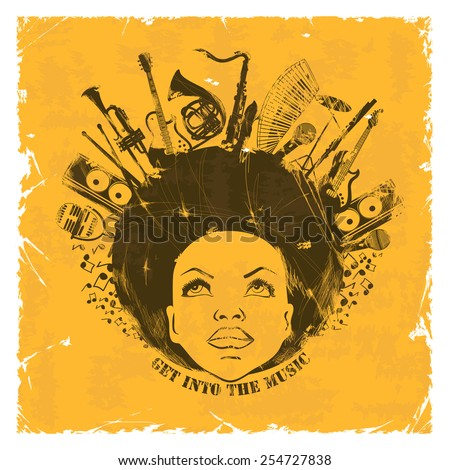 Illustration of African American young woman portrait with musical instruments on a retro background. Music creative concept - stock vector