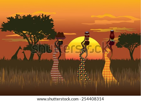 Illustration of African women carrying water and coconuts in traditional dishes on his head against the African landscape in orange, brown and red. Background silhouettes of trees and giraffes. - stock vector