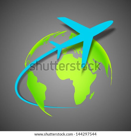 illustration of airplane around Earth map - stock vector