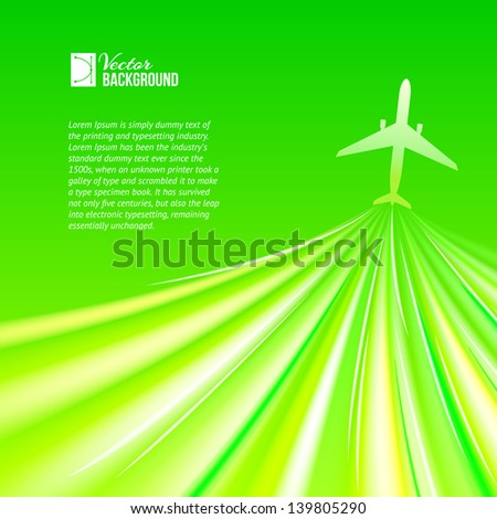 Illustration of airplane around the green. Vector illustration, contains transparencies, gradients and effects. - stock vector