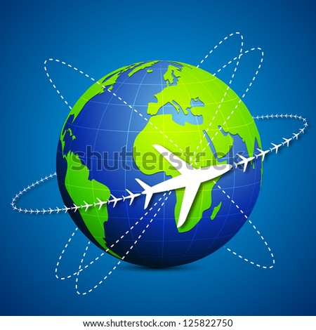 illustration of airplane flying around globe on abstract background - stock vector