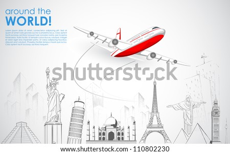 illustration of airplane flying over sketch of famous monument - stock vector
