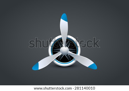illustration of  airplane propellert engine on dark background - stock vector