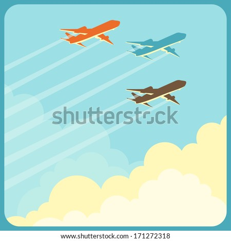 Illustration of airplanes flying in the sky over clouds. - stock vector