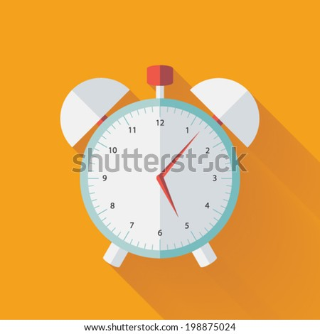 Illustration of Alarm clock flat icon over yellow - stock vector
