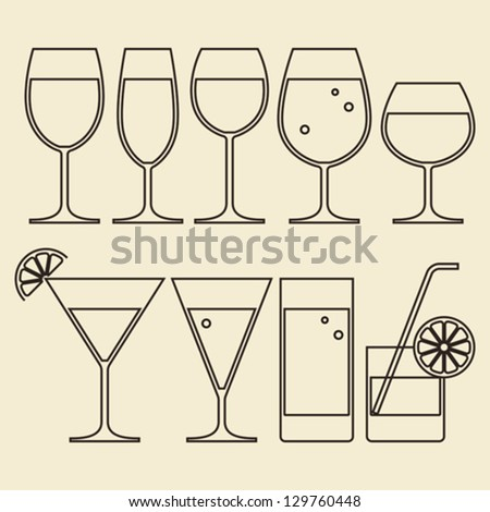 Illustration of Alcohol, Wine, Beer, Cocktail and Water Glasses - stock vector