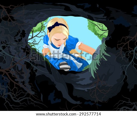 Illustration of Alice looking to the hare hole - stock vector
