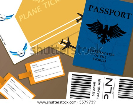 Illustration of all the documents that you would need when you fly from an airport - stock vector