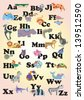 Illustration of alphabet by animal character from A to Z - stock vector