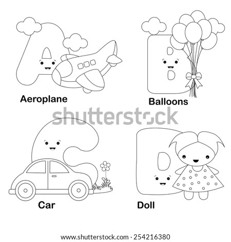 illustration of alphabet coloring book letters a b c d with beautiful - Alphabet Coloring Books