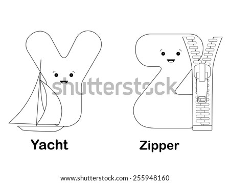 Illustration Of Alphabet Coloring Page Letters Y Z With Beautiful Cliparts Isolated On White Background