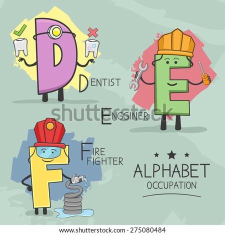 Illustration of alphabet occupation - Dentist, Engineer, Firefighter - stock vector