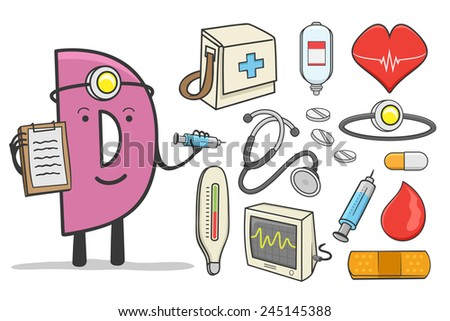 Illustration of alphabet occupation - Letter D for Doctor - stock vector
