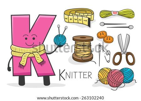 Illustration of alphabet occupation - Letter K for Knitter - stock vector