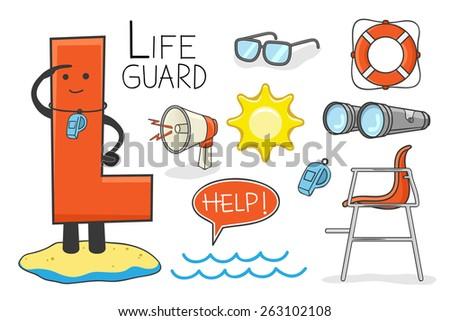 Illustration of alphabet occupation - Letter L for Lifeguard - stock vector