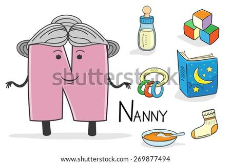 Illustration of alphabet occupation - Letter N for Nanny - stock vector