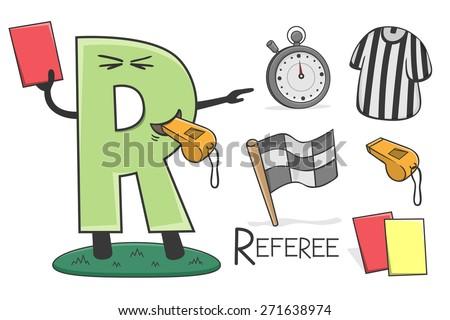 Illustration of alphabet occupation - Letter R for Referee - stock vector