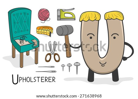 Illustration of alphabet occupation - Letter U for Upholsterer - stock vector