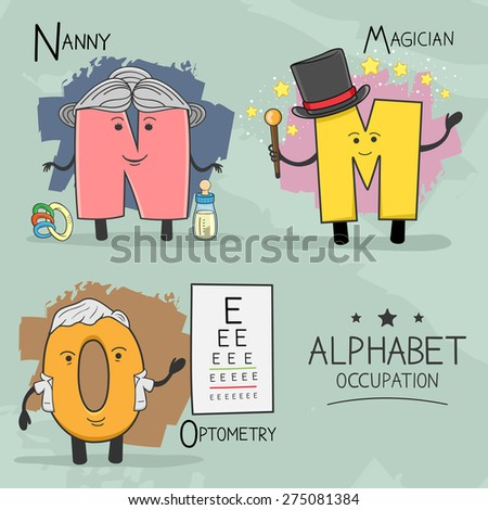 Illustration of alphabet occupation - Magician, Nanny, Optometry - stock vector