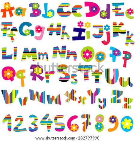 Illustration of alphabet set and numbers on white background - stock vector