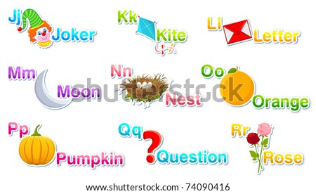 illustration of alphabet set with associate objects on isolated background part 2 - stock vector