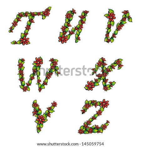Illustration of alphabet set with flowers and leaves on isolated background - stock vector