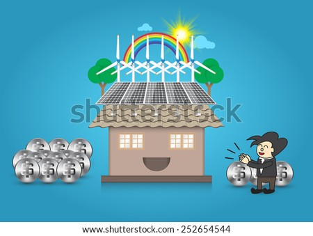 Illustration of alternative energy and home with blue background. - stock vector