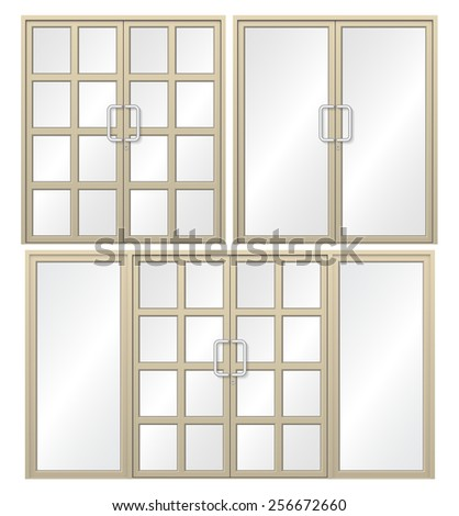 Illustration of aluminium door isolated on white background. - stock vector
