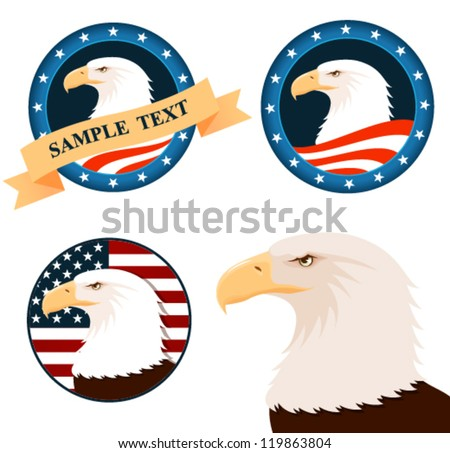 illustration of american bald eagle with american flag background - stock vector