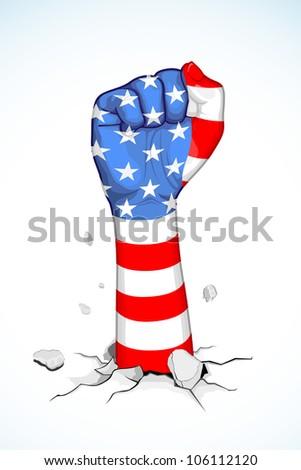 illustration of American flag print on fist - stock vector