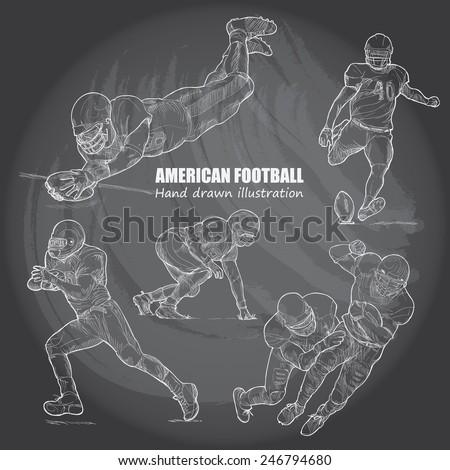 Illustration of American Football. Hand drawn. chalkboard. vector. - stock vector