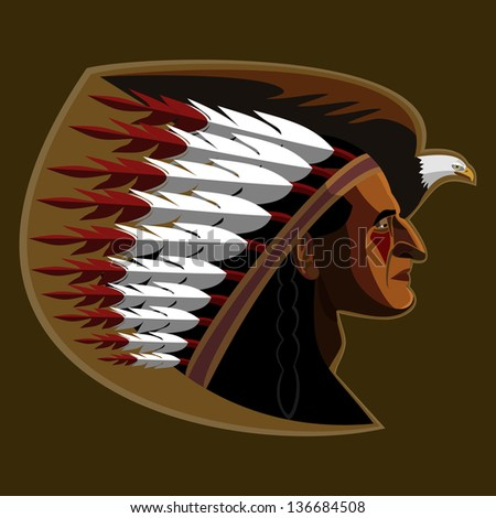 Illustration of american indian with   eagle - stock vector