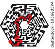 illustration of an abstract maze with the shape of an hexaeder and a red arrow leading to the center - stock vector
