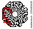 illustration of an abstract maze with the shape of an octaeder and a red arrow leading to the center - stock vector