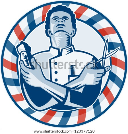 Barber Background : ... circular barbers pole on isolated white background. - stock vector