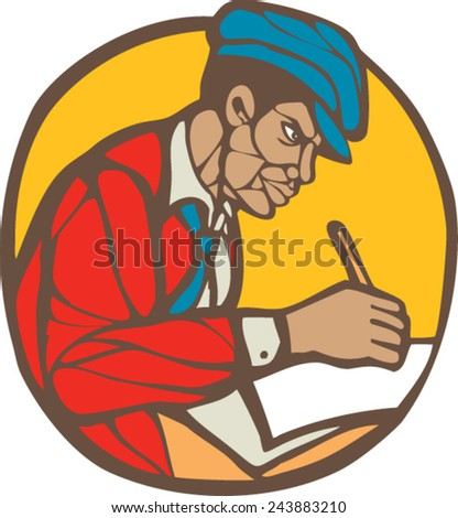 Illustration of an african-american writer journalist writing viewed from the side set inside circle on isolated background done in retro woodcut linocut style.