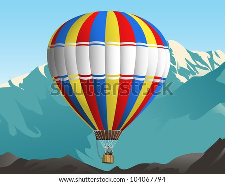 Illustration of an air balloon in the sky. Mountains on the background