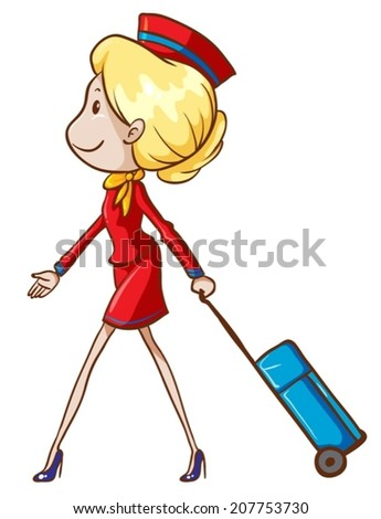Illustration of an air hostess with a trolley on a white background