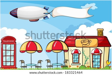 Illustration of an aircraft with an empty banner - stock vector