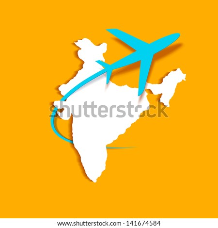 illustration of an airplane flying - stock vector
