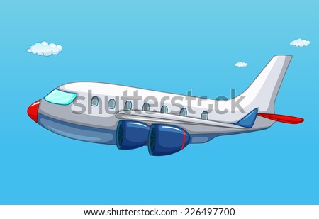 illustration of an airplane flying in the sky - stock vector
