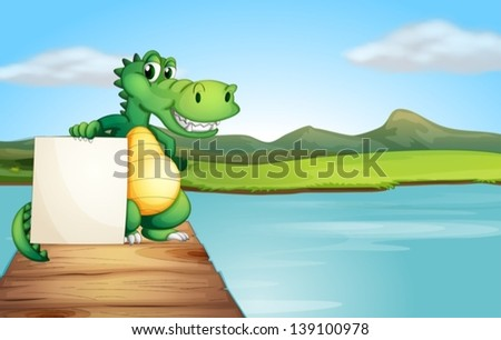 Illustration of an alligator holding an empty board at the wooden bridge