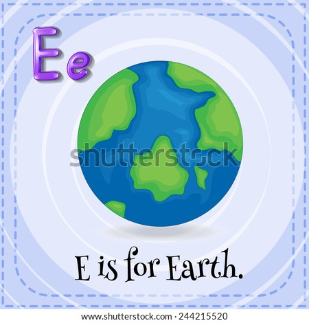 Illustration of an alphabet E is for Earth - stock vector